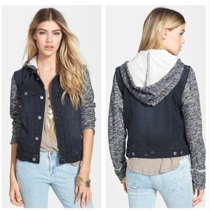 Free People Knit Hooded Denim Jacket Distressed XS